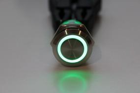 Drucktaster IP67 mit Ringbeleuchtung grün 12V